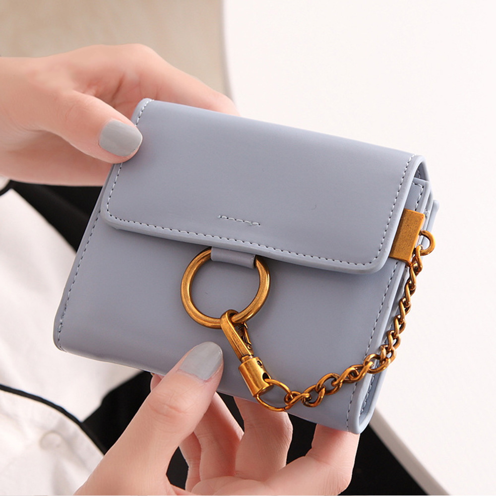 Купить с кэшбэком 6 Color Fashion Women Wallets Metal Hanging Chain Foldable Women's Purse Ladies Mini Wallet PU Leather Wallet