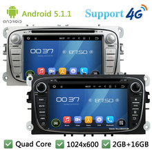 Quad Core 7″ 1024*600 Android 5.1.1 Car Multimedia Player Radio DAB+ 3G/4G GPS Map For Ford Focus Mondeo C-MAX S-MAX Kuga Galaxy