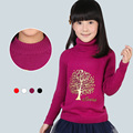 2015 New Winter Autumn Baby Girls Sweaters Cotton Knitted Kids Turtleneck Sweaters Children Outerwear Cardigan Drop Ship