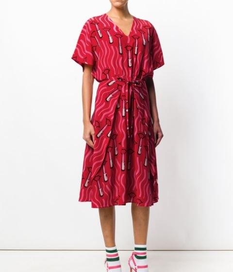 Бесплатная доставка 2018 Новое поступление летнее платье для Для женщин v образным вырезом шелковые помада печати высокое приталенное платье