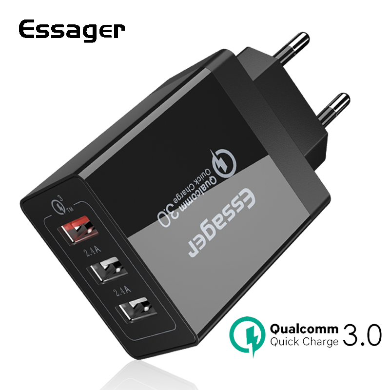 Essager 30W USB Charger Quick Charge 3.0 Fast Mobile Phone Charger For iPhone Samsung Xiaomi Nexus Tablet 3 Port Desktop ChargerEssager 30W USB Charger Quick Charge 3.0 Fast Mobile Phone Charger For iPhone Samsung Xiaomi Nexus Tablet 3 Port Desktop Charger