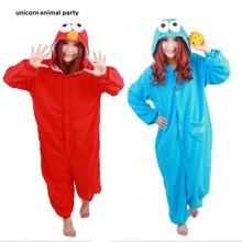 Blue Red Sesame Street Adult Onesie Pajamas Sleepwear Anime Cosplay Costume Unisex Cartoon Sleepsuit