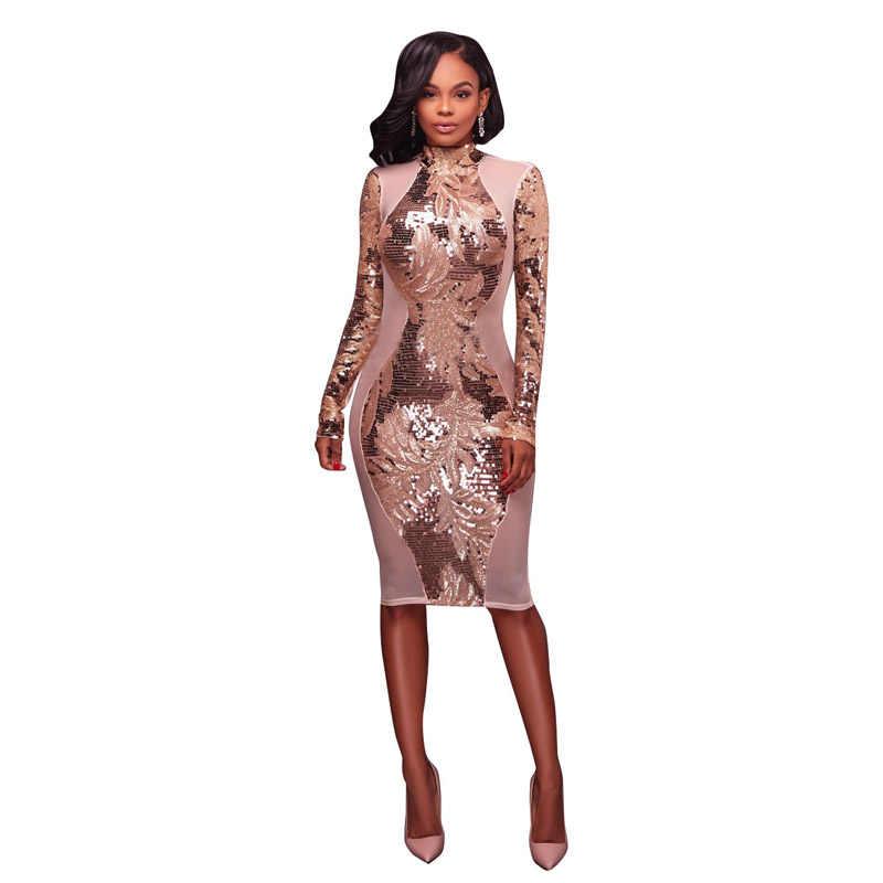 Runway Dresses 2018 Women High Quality Open Back Gold Sequin Mesh Insert  Patchwork Long Sleeve Autumn 7dd610b394fd