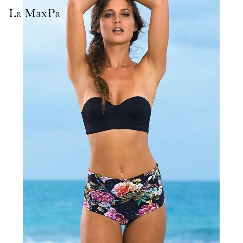 La MaxPa bikini 2018 swimwear women bikini set sexy swimsuit female bandeau bathingsuit girls summer printed beachwear black