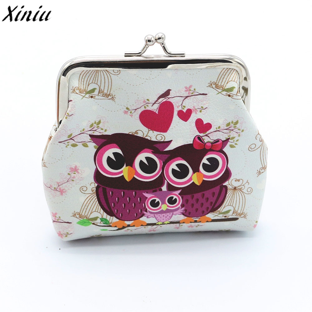 Leather Coin Purses Women Retro Owl Print Leather Small Wallet Vintage Hasp Purse Clutch Bag Cute Pouch Kleiner Geldbeutel#7214