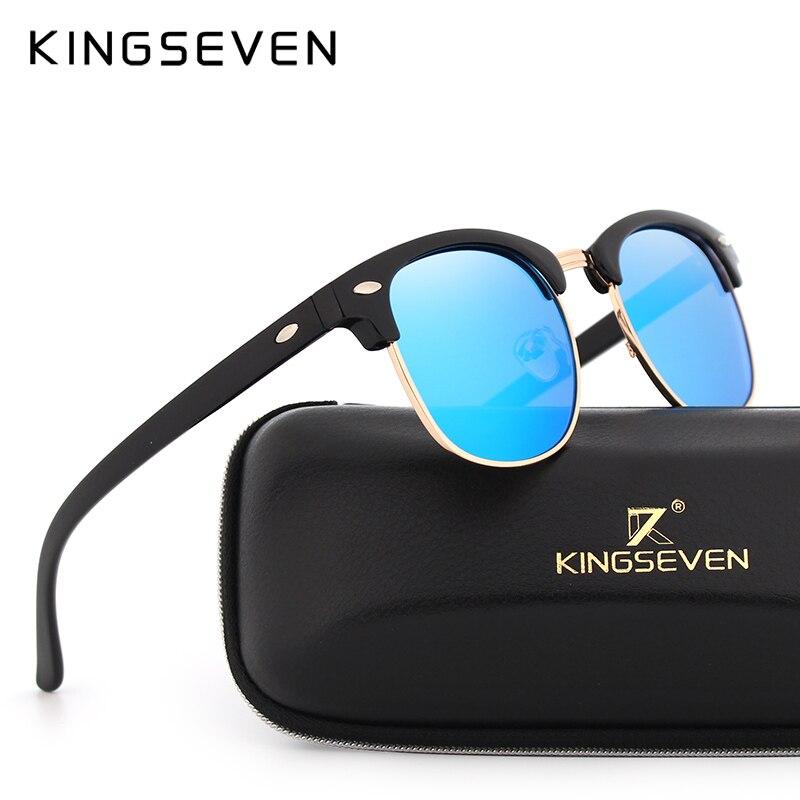 KINGSEVEN Polarizada Óculos De Sol Das Mulheres de Metal Retro Quadro Óculos de Sol Da Senhora Famosa Marca Designer Oculos masculino lentes de sol
