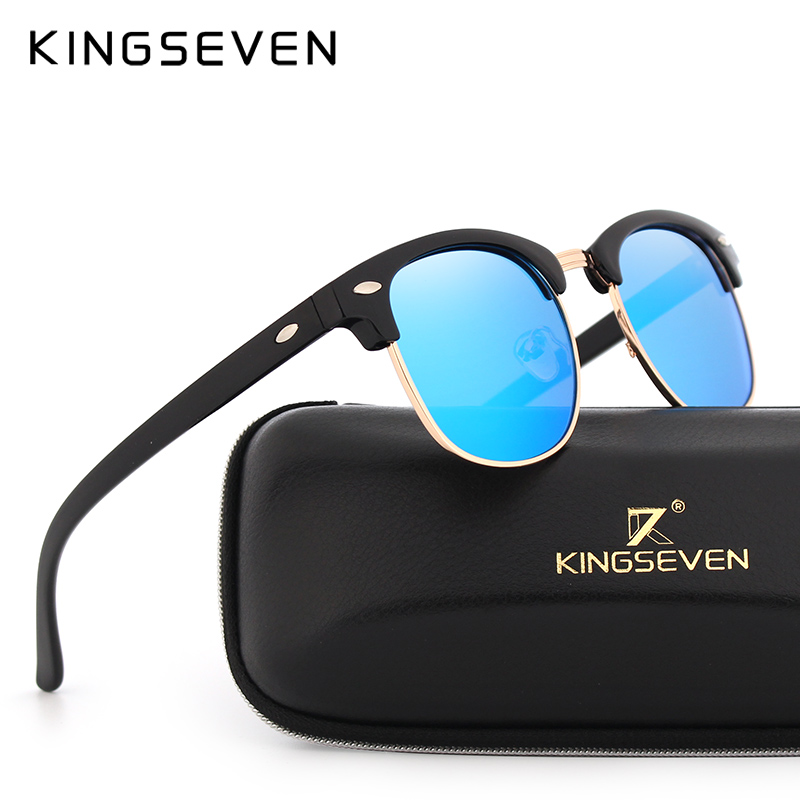 KINGSEVEN Polarized Sunglasses Wanita Retro Logam Bingkai Kacamata Matahari Wanita Terkenal Merek Desainer Oculos masculino lentes de sol