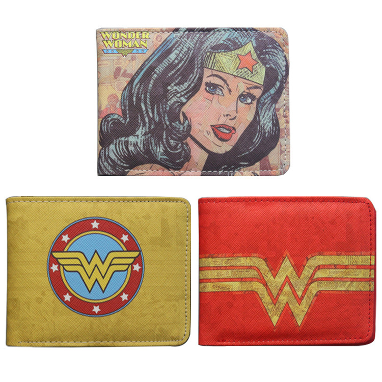 DC Comics Wonder Woman wallet women men wallet card short coin bifold ID Credit Card Holder Leather pu Cool Short purse japan anime katekyo hitman reborn wallet cosplay men women bifold coin purse