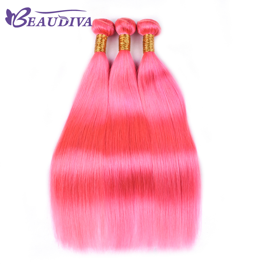 BEAU DIVA Pink Brazilian Straight Human Hair One Pack of 3 Bundles Hair Extension 100% Remy Hair Weave Bundles 8-26 inch