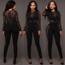 Hot sale Fashion sheer lace bodycon playsuit sexy solid full length evening jumpsuit for lady club party bodysuit