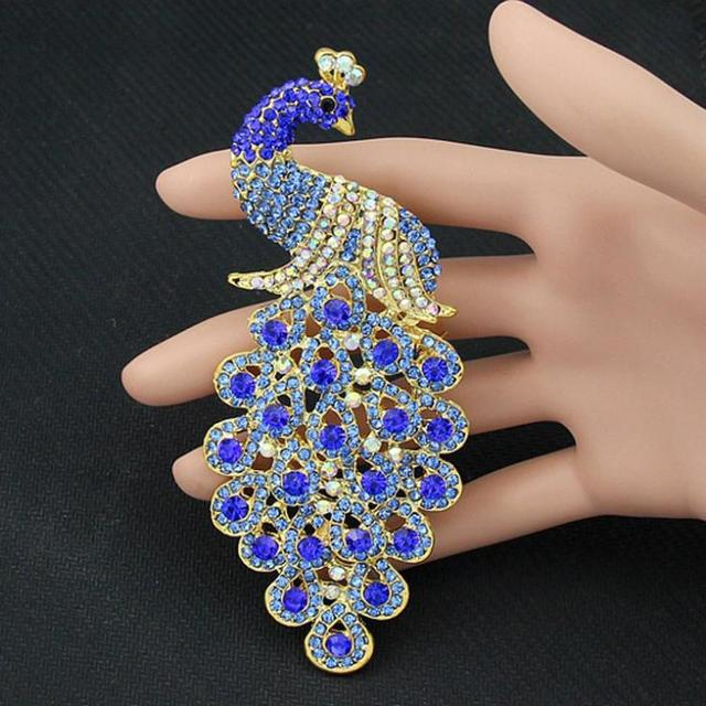 drop shipping brooches multicolor rhinestone blue peacock brooch
