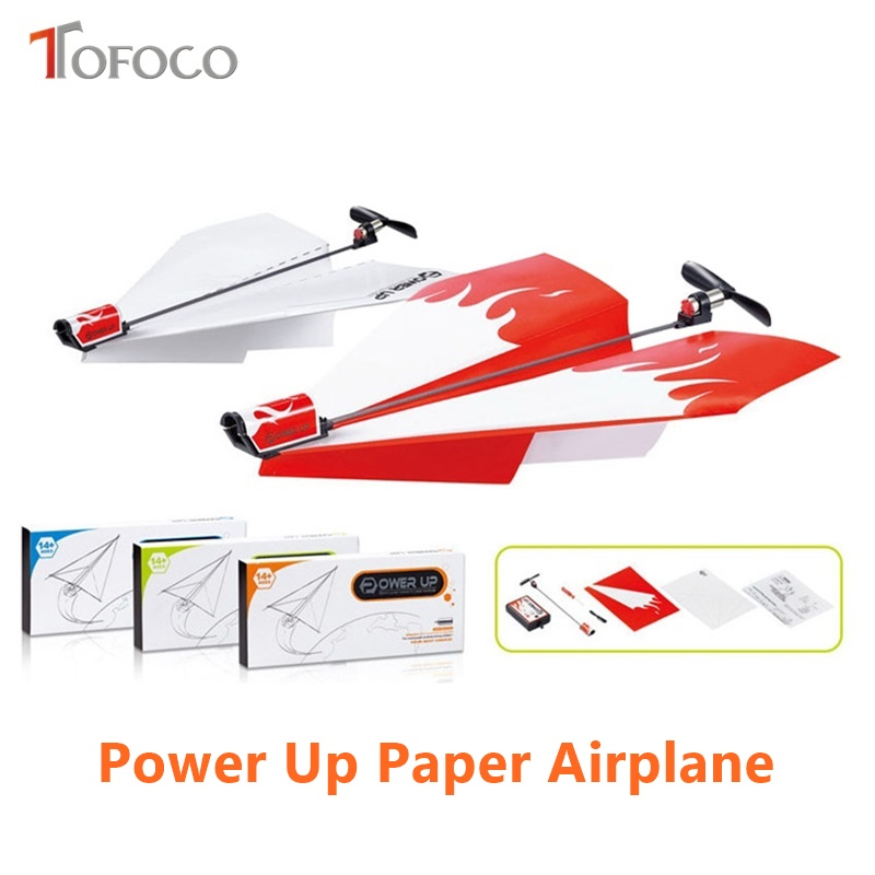 TOFOCO 2017 Paper Power Up Electronic Airplane Model Toy Juguetes Oyuncak Brinquedos Folding DIY Toys For Kid