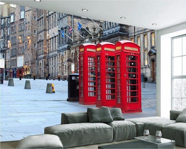 Wdbh personnalisé mural 3d papier peint européenne rue rouge cabine ...