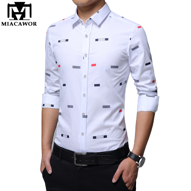MIACAWOR New Men Casual Shirts Fashion Print Camisa Masculina Slim Fit Long Sleeve Camisa Social Men Clothes Plus Size 5XL C379