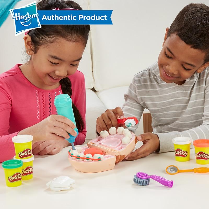 Hasbro jouer Doh petit dentiste coloré boue plaisir tarte enfants doux argile Playa jeu créatif Doh bricolage jouets ensemble Slime clair moelleux - 6