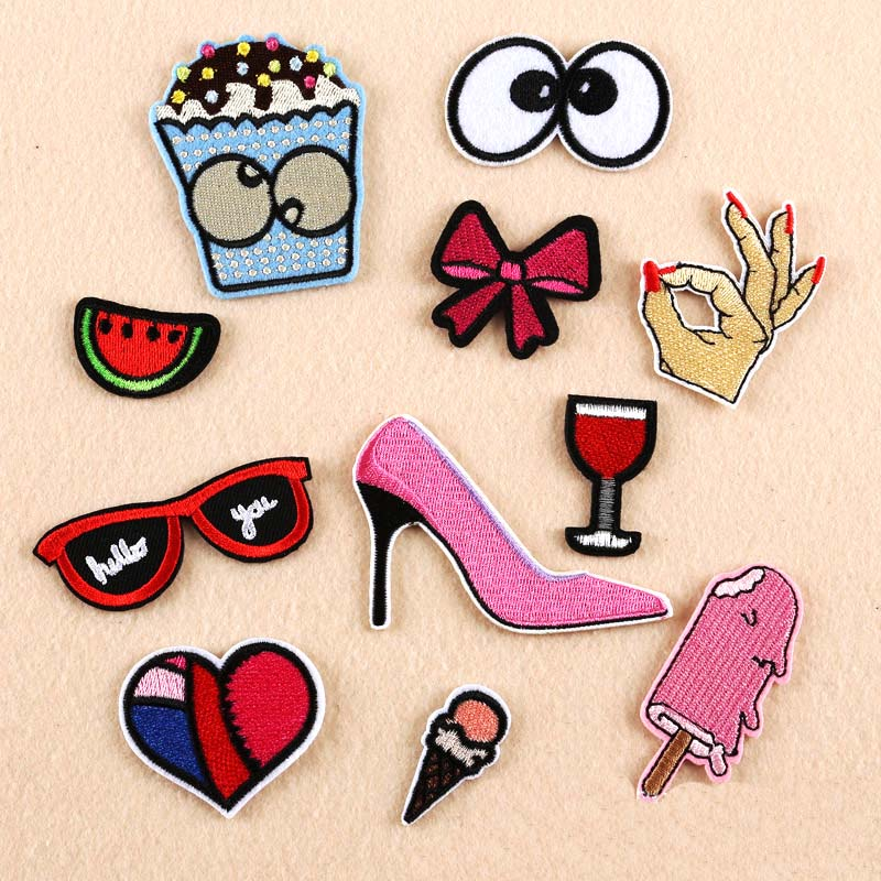1pcs/11pcs fashion Embroidered Sequins Iron On Patch Cloth Patches Woman Girl Sexy Charm Clothing Appliques Brand Patches cp1602