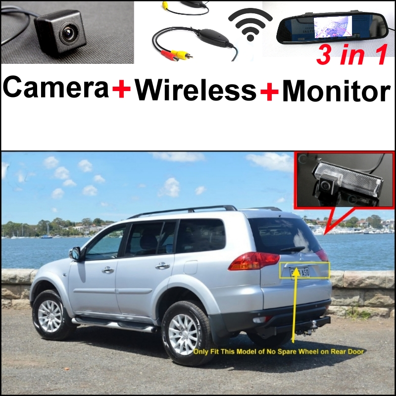 3 in1 Special Camera + Wireless Receiver + Mirror Monitor Easy DIY Parking System For Mitsubishi Montero Sport Nativa Challenger wireless pager system 433 92mhz wireless restaurant table buzzer with monitor and watch receiver 3 display 42 call button