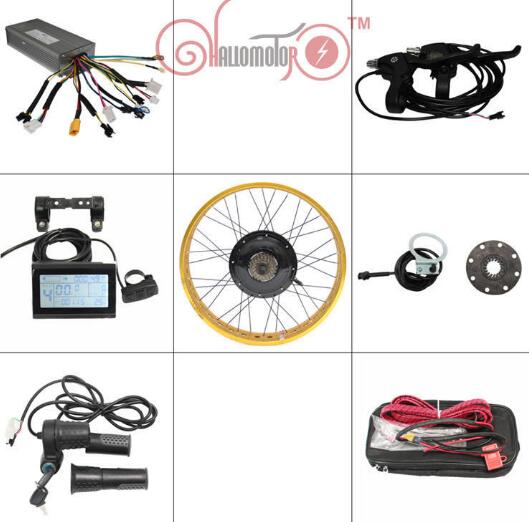 RisunMotor Ebike Kit 72V 1500W Fat Tire Electric Bicycle Conversion Kits LCD Display Control 20