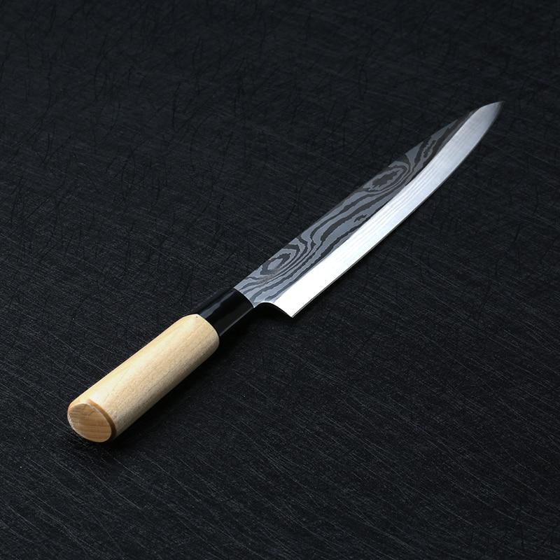 Laser damas Chef couteaux japonais saumon Sushi couteaux acier inoxydable Sashimi couteau de cuisine cru poisson filet couches Cooki couteau