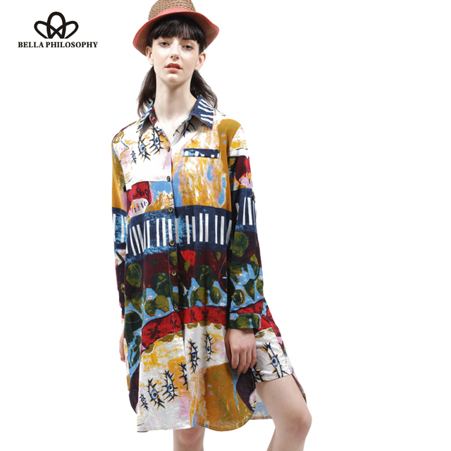 2016 spring summer cotton and linen ethnic Graffiti printed plus size women's long sleeve long shirt blouse real photo