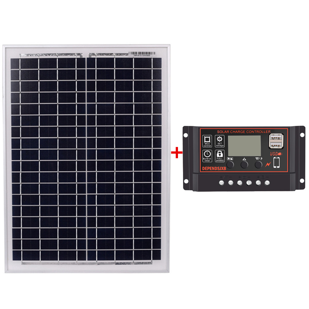 Solar Panel 18V20W Black Solar Panels + 12V/24V Solar Controller With Usb Interface Battery Travel Power SupplySolar Panel 18V20W Black Solar Panels + 12V/24V Solar Controller With Usb Interface Battery Travel Power Supply