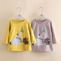 Girls Dresses 2017 Autumn Winter Princess Shirt Dress Kids Sweatshirt Clothes Rabbit Print Design For Baby