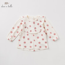 DBZ11145 dave bella autumn baby girls dots T shirt children long sleeve tops girls high quality pullover kids fashion tees