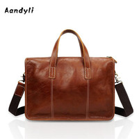 Head Layer Cowhide Men S Handbags Handmade Briefcase Business Casual Laptop Men Bag