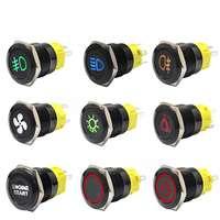 Luz indicadora de lámpara LED, 12V 19mm, Panel de salpicadero, luz de advertencia, interruptor de botón de Metal, bloqueo momentáneo, encendido apagado para coche, yate