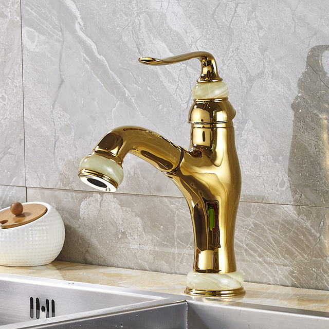 Wholesale and Retail Kitchen Sink Faucet Solid Brass Pull Out Swivel ...
