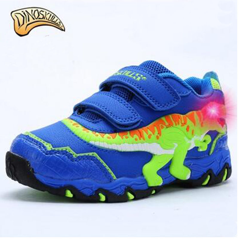 все цены на  Dinoskulls Luminous Children Casual Shoes 3D Dinosaur Luminous Shoes Kids Running Shoes Boys Sneakers Child Leisure Trainers  в интернете