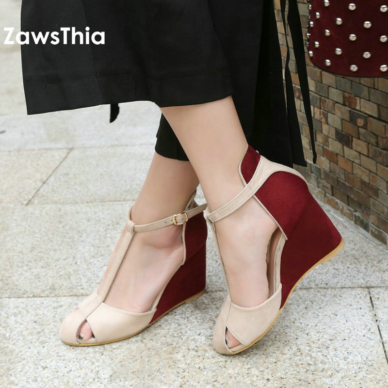 ZawsThia 2019 Summer Patchwork High Heel Platform Shoes For Woman T-strap Buckle Cover Toe Wedges Sandals Women Chaussures Femme