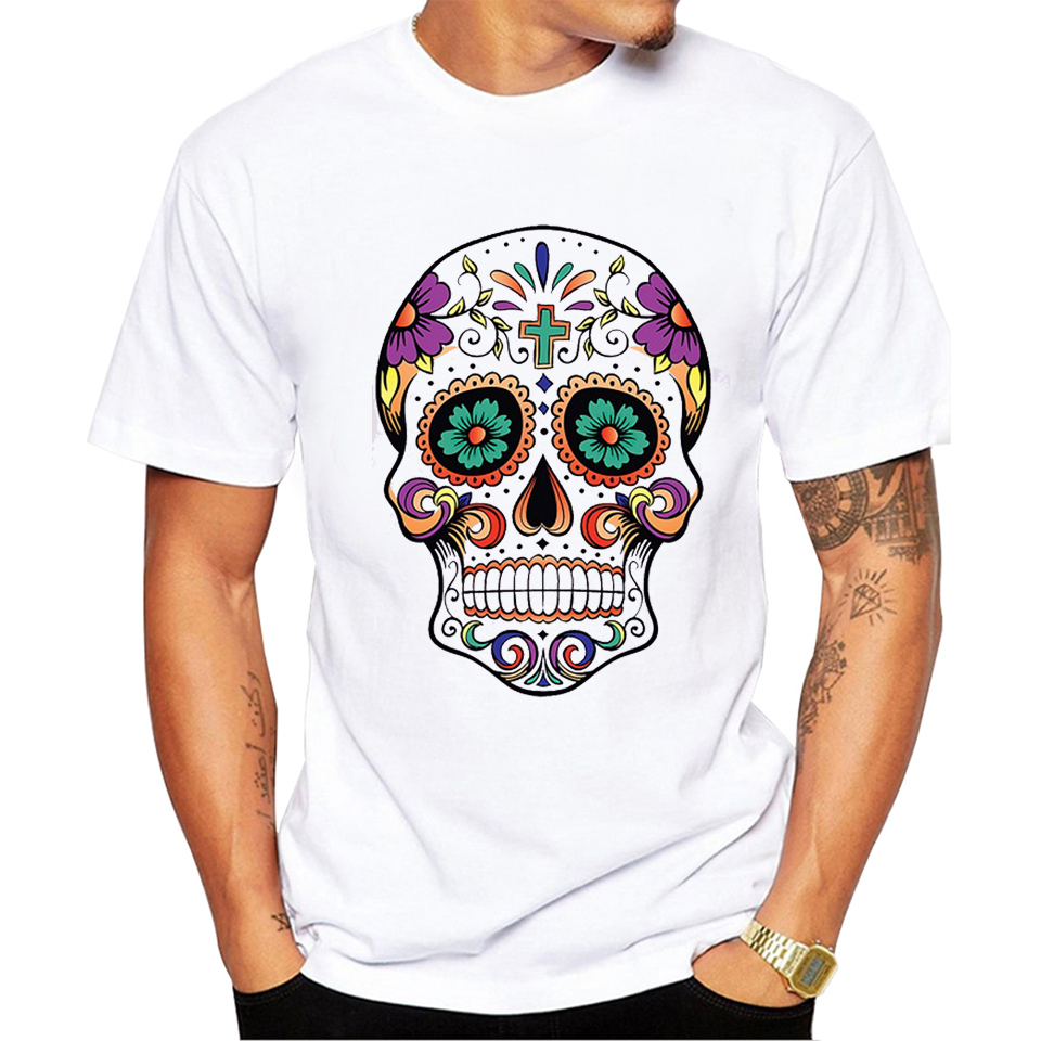2017 Mens T shirts Short Sleeve O Neck Brand Cool Summer Soft Fashion Skull Sugar skull Casual Tees pa735