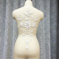 1 Piece Luxury Beads Lace Applique For Wedding Ball Gown Floral Appliques Trim Lace Neckline Collar