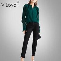 Новые осенние модные, свободные Повседневное рубашки, плиссе в виде листка лотоса с длинными рукавами Блузка Топы.