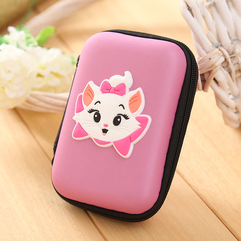 Kawaii Pink Color Marie Cat Silicone Coin Purse Large Capacity EVA Zipper Coin Key Wallet Headset Storage Box Pouch Gift Wallets marie cat сумочка marie cat