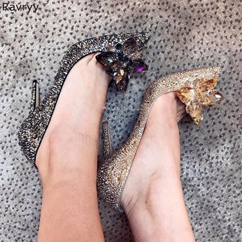 Cinderella crystal shoes woman's high heels female single shoe rhinestone slip-on Wedding party dress shoes pointed toe stiletto