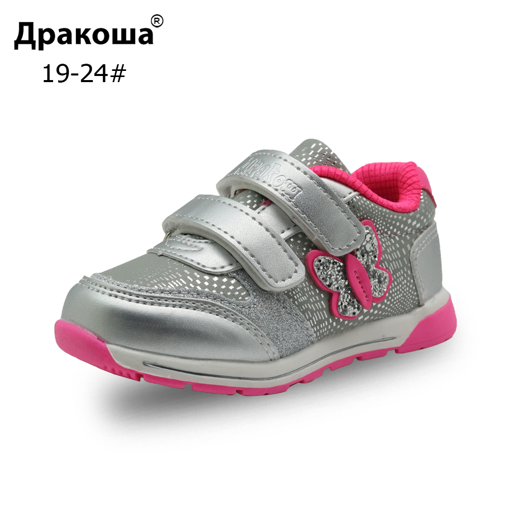 Apakowa Spring Autumn Girls Sports Shoes Kids Breathable Sneakers For Toddler Girl Children's Infant Hook&Loop Outdoor Footwear