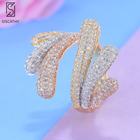SISCATHY Fashion Resizable Finger Rings For Dubai Nigerian Bridal Engagement Statement Cubic Zirconia Circle Ring Party