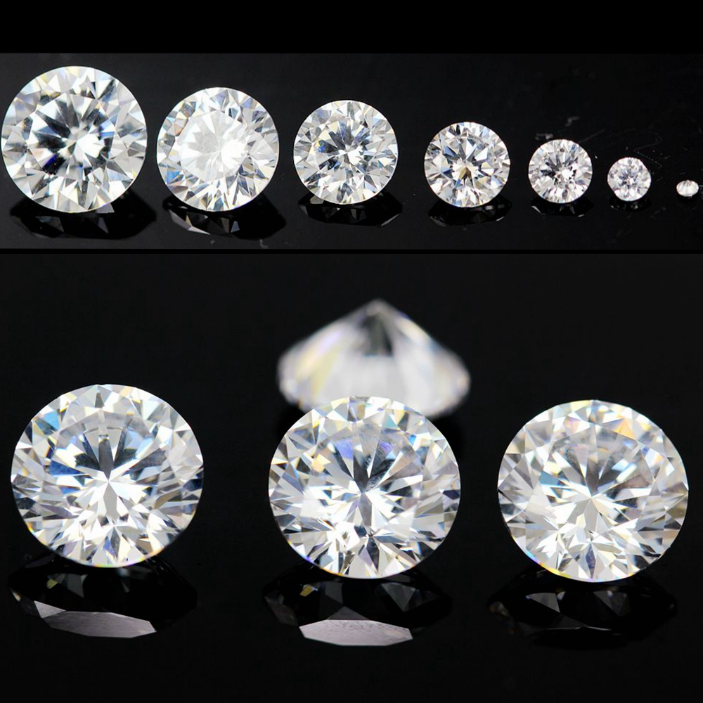 1000pcs AAAAA Grade White 0.8~4.0mm Cubic Zirconia Stone Round Cut Loose CZ Stone Synthetic Gems For Jewelry