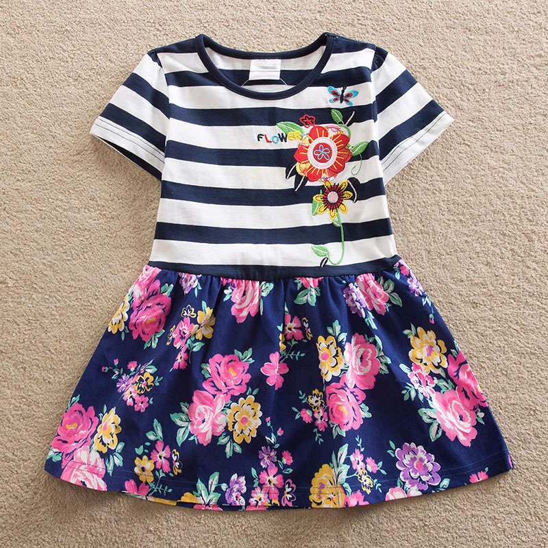 DzBoom Summer Girs Stripe Embroidery Flower Dresses Girl Kids Clothes 2018 Print Flower Party Princess Dress Children Clothing