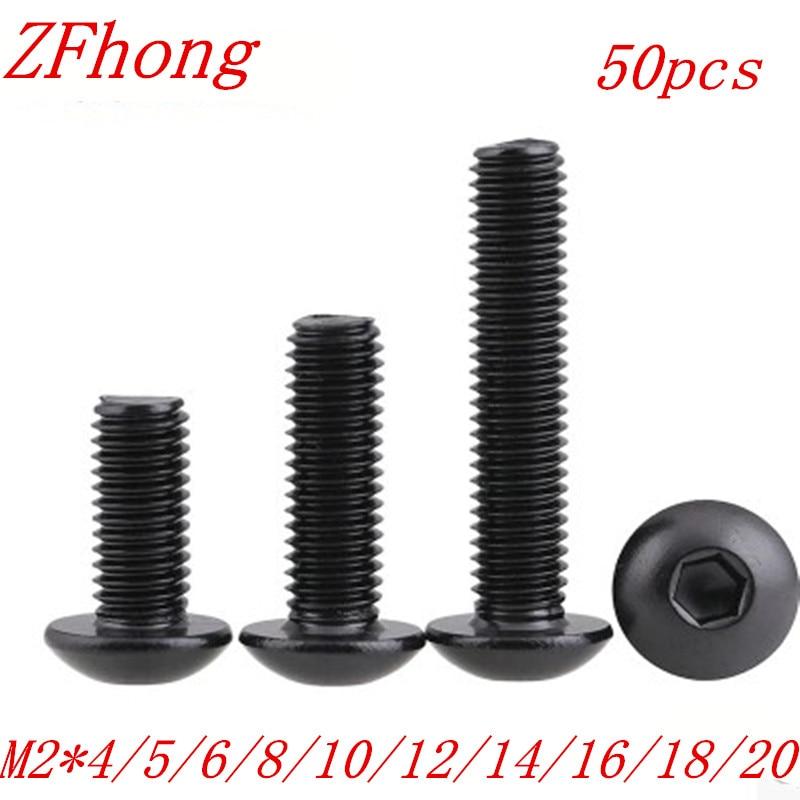 50Pcs M2 2mm ISO7380 Alloy Steel 10 9 Level Black Hexagon Socket Button Head Screw Furniture Mushroom Cap Hex Bolts in Screws from Home Improvement