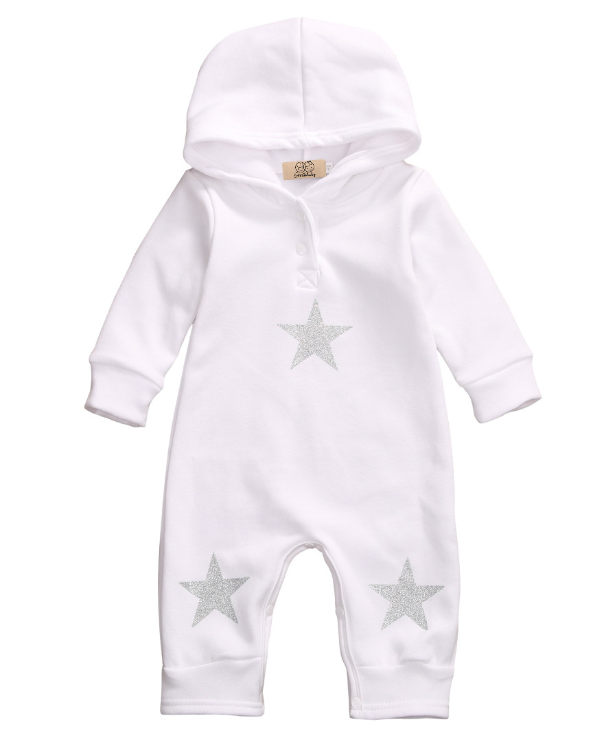 2017 New arrival Spring Autumn Baby Romper Hooded Star long sleeve Jumpsuit White Baby boy girl Clothes Outfits цена