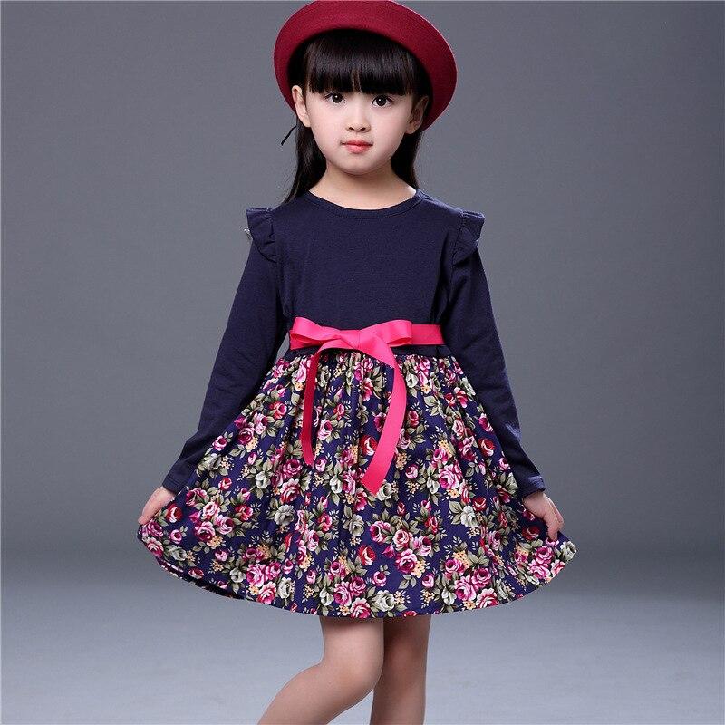 Belt stitching Bow children's kids girl clothing autumn new Floral ruffle raglan girl long-sleeved dress robe princesse fille