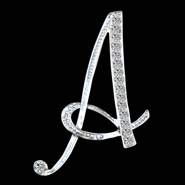 Women Crystal Letters Brooch Pin