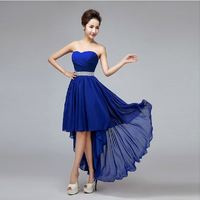 robe demoiselle d'honneur 2018 new sexy sweetheart chiffon royal blue high low wedding bridesmaid dress Cheap vestido madrinha