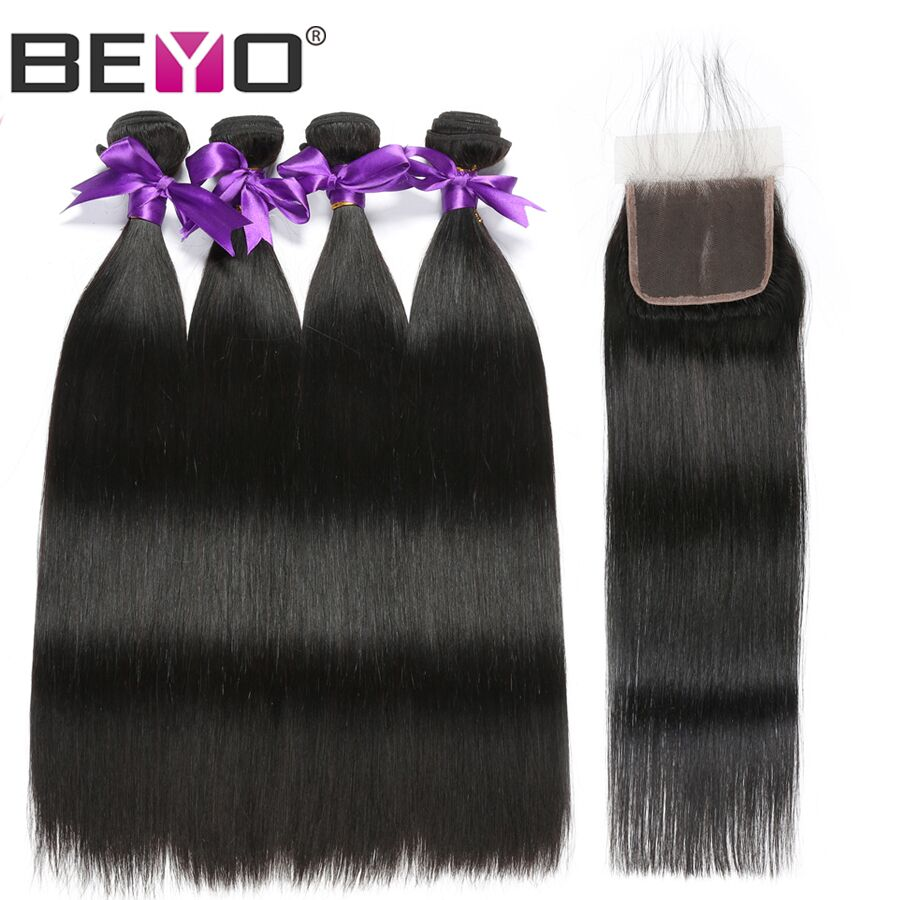 Beyo Peruvian Straight Bundles With Closure 1B Natural Black Human Hair Bundles With Closure 4x4 Non Remy Hair Extension 5 PCS