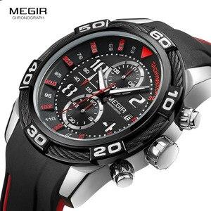 Image 2 - Megir reloj de cuarzo con batería y cronógrafo analógico para hombre, pulsera deportiva, brazalete de silicona negro, cronómetro, 2045G
