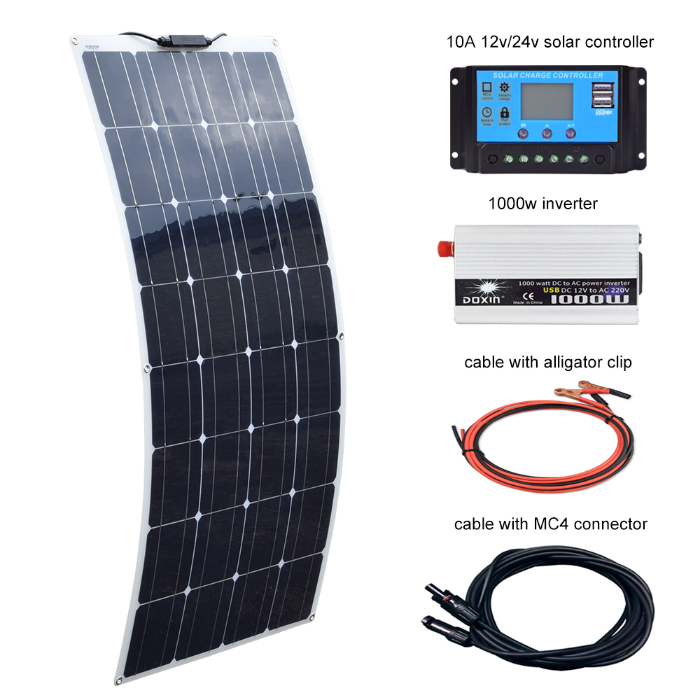 US $229 49 15% OFF|BOGUANG 100W Solar Panel 12V 10A Controller and 110V or  220V 1000W Inverter Off Grid System with USB for Beginner for RV/boat-in