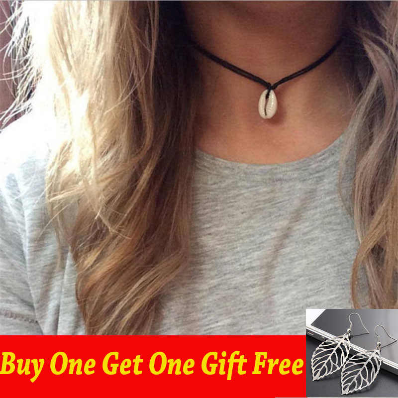 2019 New White Shells Black Rope Choker Necklace For Women Lucky Maxi Chokers Necklace Chocker Summer Beach Jewelry